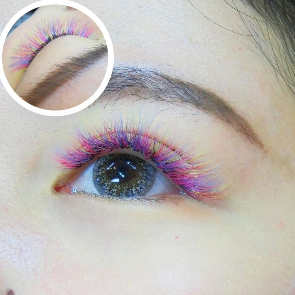 Colorful Eyelash Extensions by Belle Beauty House Singapore